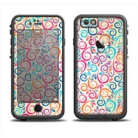 The Bright Colored Vector Spiral Pattern Apple iPhone 6 LifeProof Fre Case Skin Set