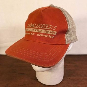 DCCKWA2 Men's Rust Marion Chrysler Dodge Jeep Ram Mesh Trucker Adjustable Cap Hat (CH2)