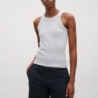 Ribbed melange vest top - Grey - Tops - COS US