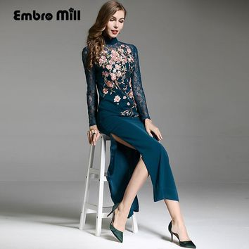 Embro Mill High-end Autumn winter Qipao Chinese style vintage embroidery blue/red elegant lady cheongsam slim party dress S-XXL