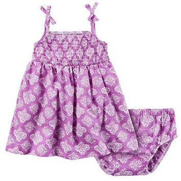 Baby Girl Carter's Smocked Paisley Dress & Bloomers Set