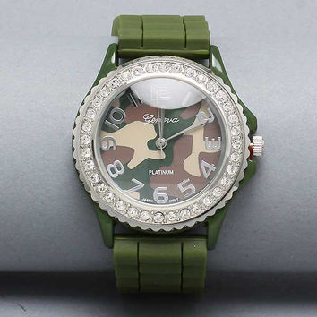 Dark Olive Green Camouflage Watch