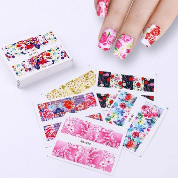 48Pcs Flower Nail Sticker Set Rose Sakura Butterfly Water Decals Nail Art Transfer Sticker Nail Slider Manicure Accessories Kits