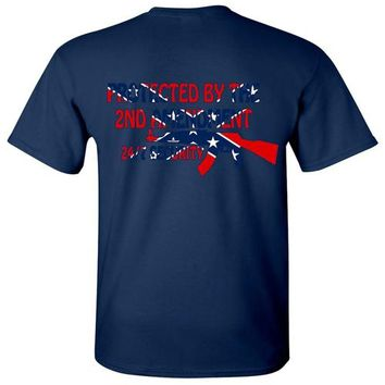 Men's Confederate Rebel Flag T Shirt Protected By