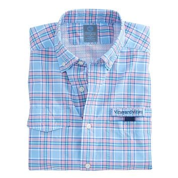 Wetland Plaid Harbor Shirt in Ocean Breeze by Vineyard Vines