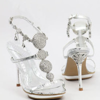 Bridesmaid Shoes, Silver Sandals, Wedding Shoe-500-23