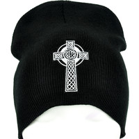 Gothic Celtic Cross Tombstone Beanie Occult Clothing Knit Cap
