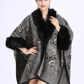 Imitation Wool Cardigan Shawl Cloak Coats