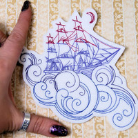 Dreamboat Sailing Ship on the Waves Iron On Embroidery Patch MTCoffinz - Choose Size