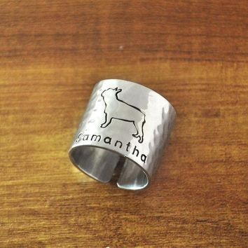 ESBONJ Personalized Hammered French Bulldog Ring, Custom Dog Adjustable Ring, Engraved Hand Stamped Cute Dog Ring Wide Band Ring