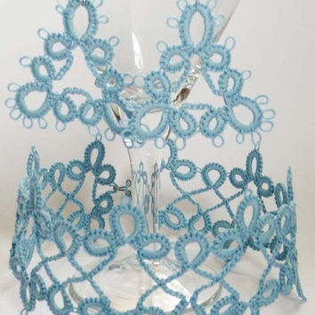 Handmade Jewelry set pale blue  - gift for Her - Needlecraft - gift for wife - vintage style - OOAK - handmade lace - party cocktail