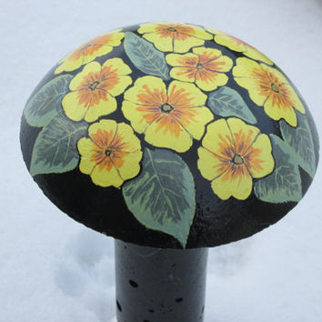 Concrete primrose painted mushroom, hand painted flowers, garden decor, yard art, yellow, orange