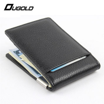 100% genuine leather 2016 New fashion money clips wallet men dollar price metal clips for money thin wallets