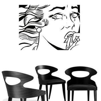 """Pop Art inspired by Roy Lichtenstein """"Crying Gir II"""" removable vinyl wall decal for your livingroom and bedroom wall art decor"""