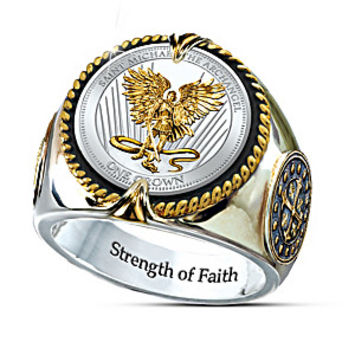 St. Michael The Guardian Silver Crown Engraved Men's Ring