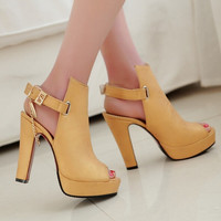 Sale Promotion Novelty Shoes Women Pumps Spring Peep Toe Gladiator Chunky High Heels