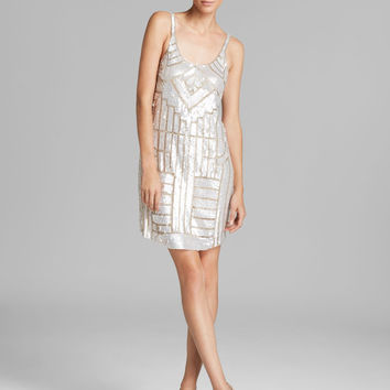 Adrianna Papell Beaded Tank Dress - Champagne Silver