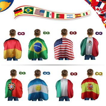 70*70cm Full Color Printing Flag Cloak Satin Fan's Cheer Cape World Cup Olympic International Festival  Italy Germany USA Spain