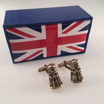 Doctor Who Dalek Cuff Links in a UK Union Jack Box