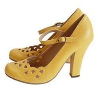 Mustard Lattice Cut Retro Maryjane Pumps review at Kaboodle