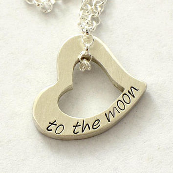 Heart Charm Necklace in Sterling Silver with to the Moon - 925 CH4332