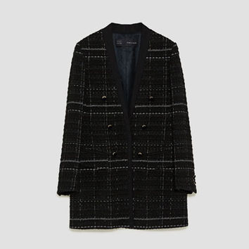CHECKED FROCK COAT WITH TEXTURED WEAVE