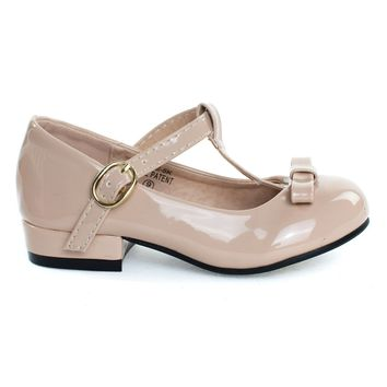 Kate5K Nude Patent By Bella Marie, Girl's Mary Jane T-Strap Pump, Chunky Block Heel & Bow