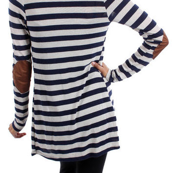 Navy Striped Cardigan w/ Elbow Patch *MADE IN USA*