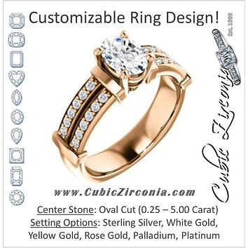 Cubic Zirconia Engagement Ring- The Rachana (Customizable Oval Cut Design with Wide Split-Pavé Band and Euro Shank)