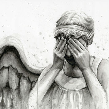 Weeping Angel - Don't Blink   Doctor Who Art Print by Olechka