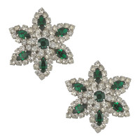 Vintage Vendome Emerald Crystal Flower Earrings | SOPHIESCLOSET.COM | Designer Jewelry & Accessories
