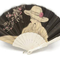 1960's Hand Fan Artist Signed Painted Fabric Ivory Celluloid Made In Spain