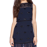 New Friends Colony Beaded Mini Dress in Navy