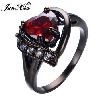 JUNXIN Romantic Big Heart Ring Crystal Black Gold Filled Cubic Zircon Red Stone Ring Wedding Engagement Jewelry Bague RB0447