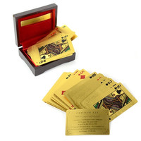 24K Karat Plated EUR/USD Poker Playing Card With Wood Box and Certificate  D_L = 1708678724