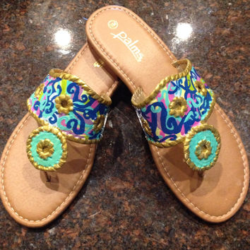 Jack Rogers inspired sandals hand painted in Lilly Pulitzer like design