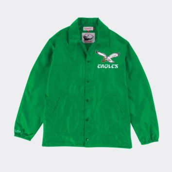 ONETOW Mitchell & Ness Philadelphia Eagles Mens Coaches Jacket in Green
