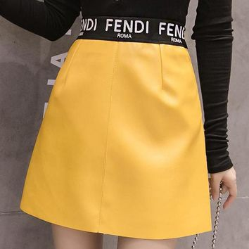 FENDI Newest Fashionable Women Personality Leather High Waist Short Skirt Yellow