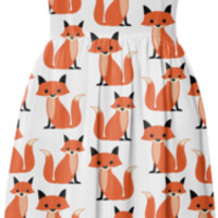 Cute, kawaii hipster fox pattern of foxes summer sun dress created by iGalaxy | Print All Over Me