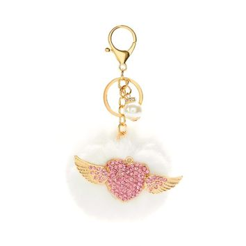 Angel Wings Detail Pom Pom Keychain