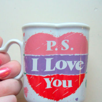 Vintage PS I Love You Heart Shaped Coffee Mug 1980s