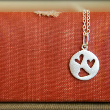 Cutout Hearts Necklace in Sterling Silver