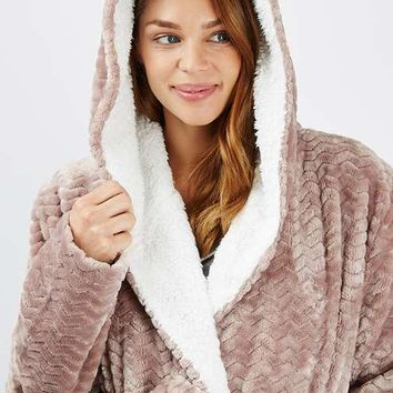 MATERNITY Chevron Teddy Robe - Maternity - Clothing