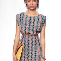 Tribal You Out Dress in Teal :: tobi