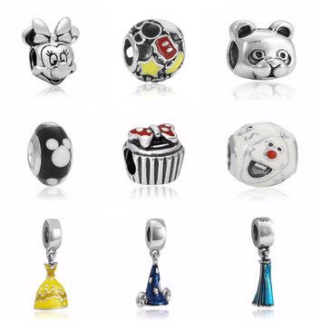 Hot Trendy Charms Jewelry Enamel Cute Mickey Bead For Jewelry Making Large Hole Charm Bead For Diy Pandora Charms Bracelet Gift