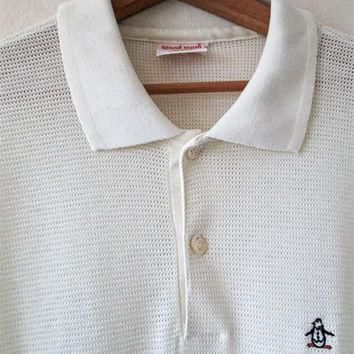 Vintage PENGUIN Embroidered MUNSINGWEAR Grand Slam Ivory Open Weave Polo Shirt Sz XL