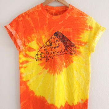 Drippy Pizza Yellow and Orange Tie-Dye Graphic Unisex Tee
