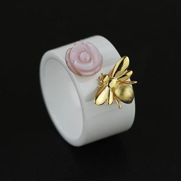 Fashion Pink Rose 925 Sterling Silver Bee Flower Ceramic Ring