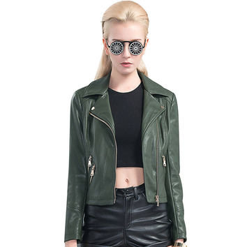 Green Soft Brand Leather Jacket Women Veste En Cuir Femme 2017 Spring PU Leather Punk Army Green PU Suede Motorcycle Jackets