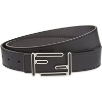 FENDI - Saffiano leather logo buckle belt | Selfridges.com